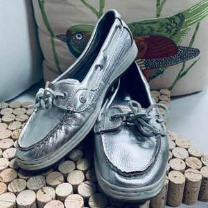 SEBAGO SKIMMERS SZ 8.5 Leather Silver Sequin GUC